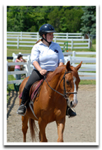 Kelley rides her guy Robar during a Centered Riding clinic.